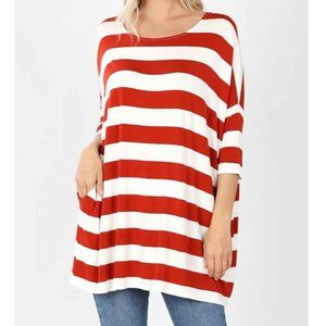 Zenana Striped Drop Shoulder Boxy Top w/Pockets